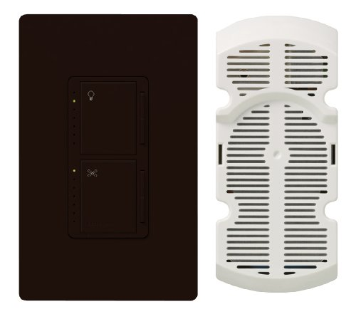 1 Dimmer Wide (Lutron MA-LFQHW-BR Maestro 300-Watt Single-Pole Digital Dimmer 1-Amp Quiet 7-Speed Fan Control with Wall plate, Brown)