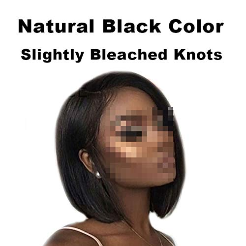 Short Hair Wigs Glueless Lace Front Human Hair Wig Plucked Remy Straight Lace Wigs,Natural Color,12inches -