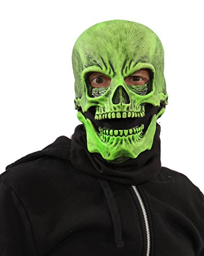 Zagone Studios UV Reactive Green Glow Sock Skull Halloween Skeleton Mask
