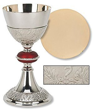 - Catholic Brass 24KT Gold Tone Grape Patterned Red Node Chalice and Paten Set