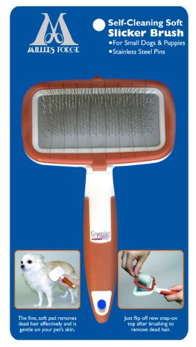 Millers Forge Self Cleaning Soft Slicker Brush for Small Dogs and Puppies by Millers Forge