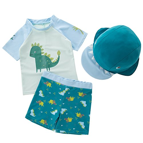 MANNEW Dinosaur Suit Toddler Boys Swimsuit Beach Shorts Kids Bathing Suit Zipper Swimwear Set with Hat,Green,Height/:85-95CM for $<!--$17.99-->