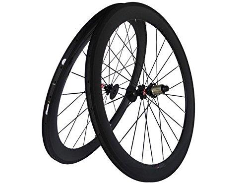 Flyxii 3K Carbon Mate Bicicleta de carretera bicicleta Clincher wheelset 60mm Wheel Rim continúa Hub para Shimano...