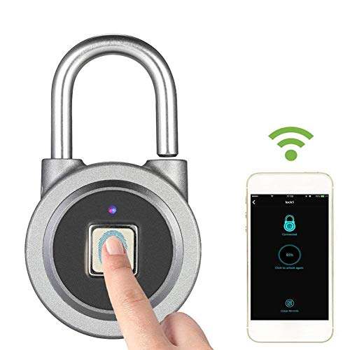 - Electronic Door Lock Smart Bluetooth Lock Password Padlock Fingerprint Identification keyless Security Anti-Theft for All Occasions
