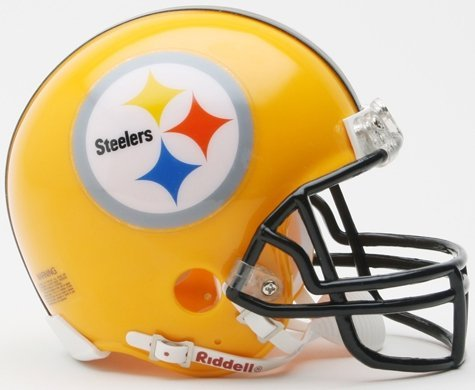 Riddell NFL Pittsburgh Steelers Helmet Replica Mini VSR4 Style 75th Anniversary Throwback 2007 Gold, One Size, Team Color ()