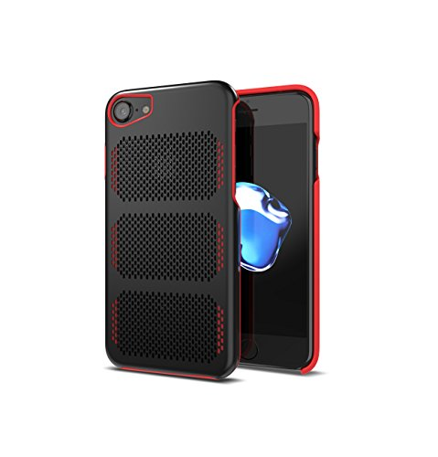 Coolmesh Extreme GT Aerospace Stainless Steel Case for iPhone 7 [Compatible with 6s,6] (Black/Red Trim)