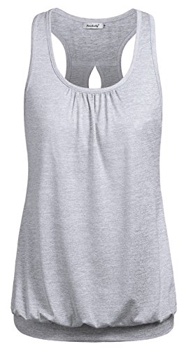 Bottom Band - Ninedaily Racerback Tank Tops for Women, Comfy Shirt Activewear Bottom Band Shirt Slimming Fit for Athletic Stretchy Camis Gray Size S