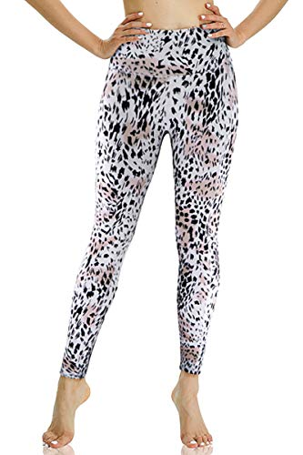 YGOODM High Waist Pattern Print Leggings for Women with Pockets Tummy Control Ultra Soft Workout Pants for Yoga Capri (Off White, XS)
