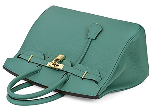 Aqua Handbags Genuine Classic Padlock Tote Women's Leather 4XYOxTw