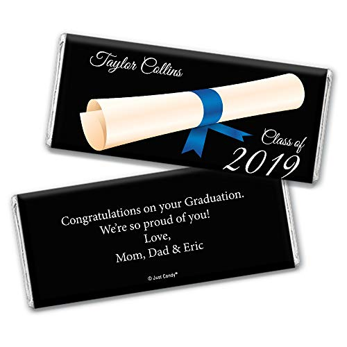 (Personalized Graduation Chocolate Bar Wrappers - Diploma (25 Wrappers) - Blue)