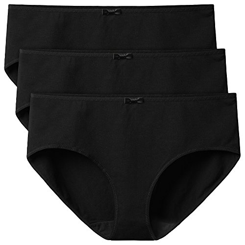 David Archy Women's 3 Pack Combed Cotton Underwear Stretch Hipster Panties (Black,L)