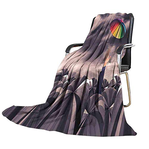 Blanket Rainbow Umbrella Fly Out from The Business Man Hand amoung The Mass of Black Umbrellas The Big one Blanket Size:60