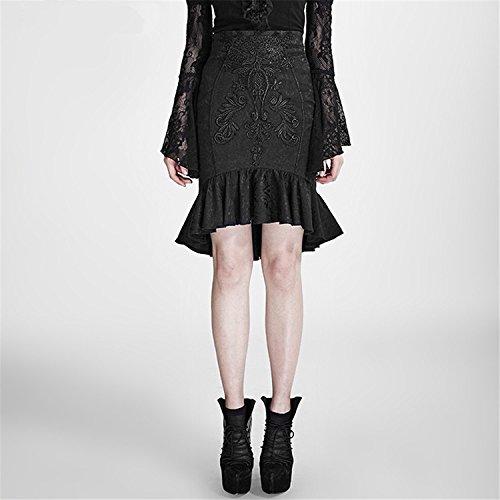 Gr Kleid bestickt Zwei Gothic en Weat Frauen Rock Vintage Abnehmbare Rock Wrap Schwarz Punk Langarm 6 6Aw7qn