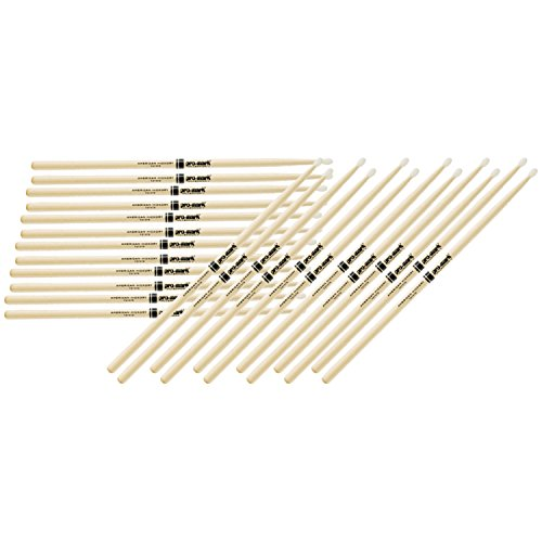 12 Pairs of Pro-Mark TX747N American Hickory 747 Rock Nylon Tip Drumsticks (Promark American Hickory Rock)