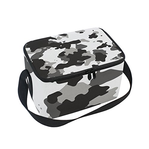 Military Camo Camouflage Pattern Print Insulated Lunch Box Cooler Bag Reusable Tote Picnic Bags for Travel, Camping, Hiking and RVing