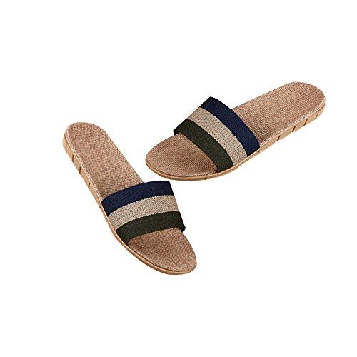 TELLW sbring Autumn Slippers Women Men Summer Linen Slippers Couples Home Slippers Indoor Anti-Stink Wood flooring Beach Slippers Dark Blue Green NZw75N