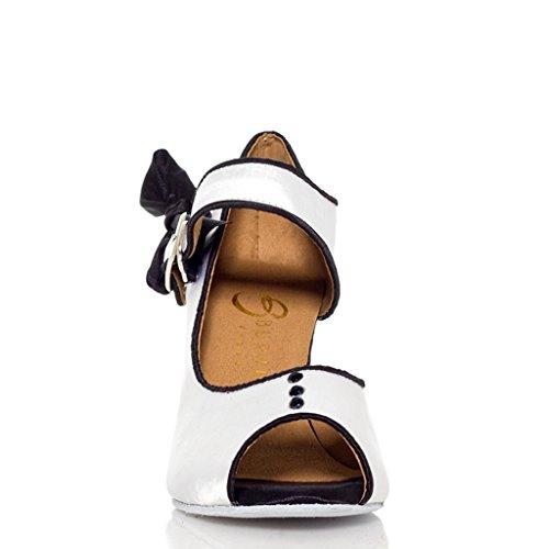 CRC YCL004 Womens Trendy Peep Toe Satin Ballroom Modern Latin Party Wedding Dance Shoes White T7yRI