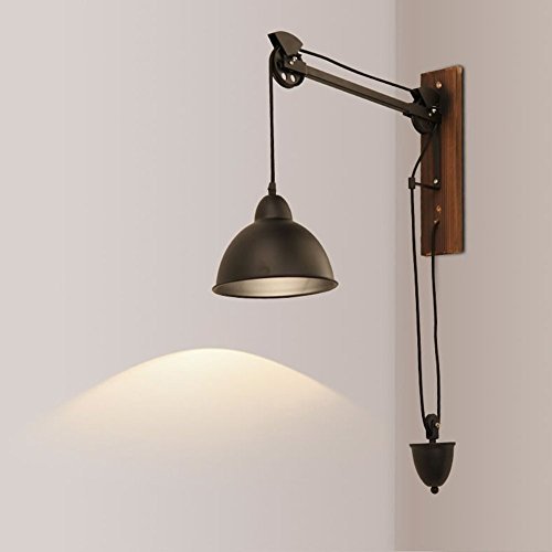 HOMEE Wall lamp- rural retro industrial style pull rope long arm adjustable iron wall lamp jobs office wall lights creative coffee shop lights --wall lighting decorations by HOMEE