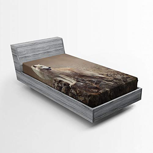 Ambesonne Animal Fitted Sheet, White Wolf on Rocks at The Night Hazy Misty Weather Wildlife Nature Scenery Print, Soft Decorative Fabric Bedding All-Round Elastic Pocket, Twin Size, Warm Taupe