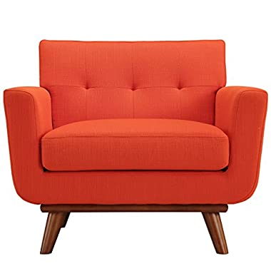 LexMod Engage Wood Armchair, Atomic Red
