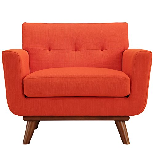Modway Engage Mid-Century Modern Upholstered Fabric Accent Arm Lounge Chair in Atomic Red