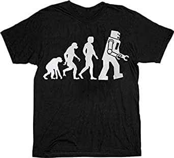The Big Bang Theory Robot Evolution Black T-shirt Tee (Small)