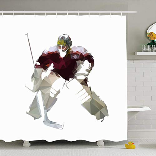 Ahawoso Shower Curtain 60x72 Inches Figure Goalkeeper Ice Hockey Goalie Dark Red Jersey Front Sports Recreation Abstract Action Cool Waterproof Polyester Fabric Bathroom Curtains Set with ()