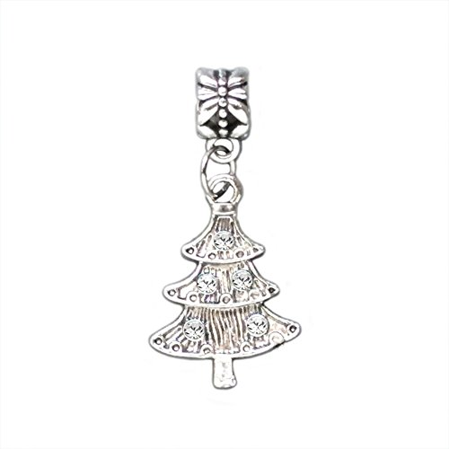 Bling Stars Christmas Gift Crystal Christmas Tree Dangle Charm Bead fits Pandora (Crystal Christmas Charm)