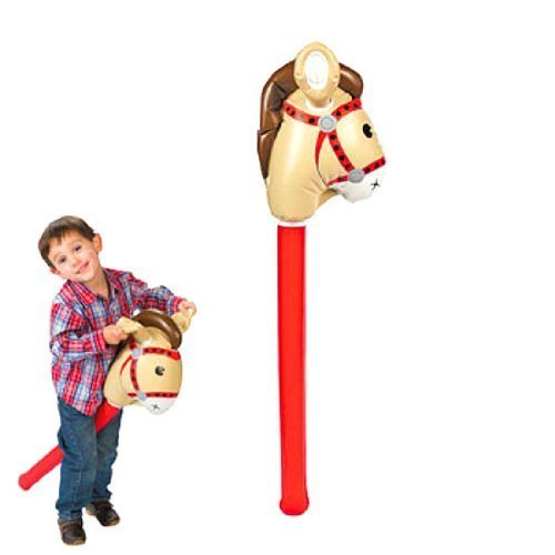Set of 2 Fun Express Inflatable Stick Horse bundled by Maven Gifts ()