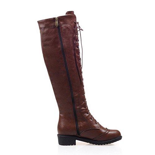 AllhqFashion Damen Niedriger Absatz Reißverschluss Blend-Materialien Reißverschluss Stiefel, Braun, 37