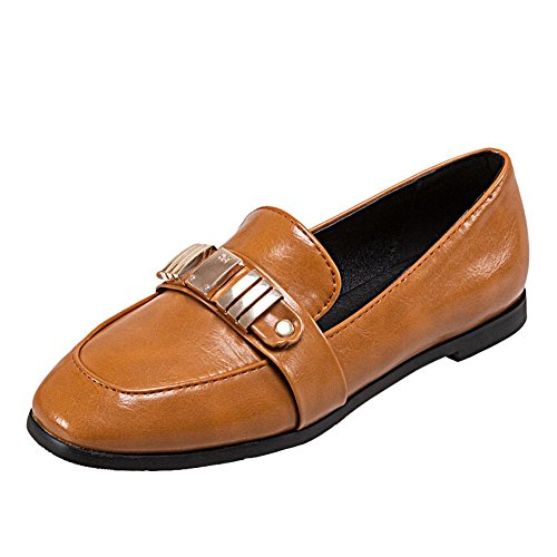 Carolbar Women's Western Concise Flat Metal Ornament Loafer Shoes Yellow NYheHyi