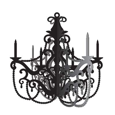Creative Converting Club Pack Birthday Theme Party in Paris Black Cutout Hanging Chandelier, Box of 12 Chandeliers