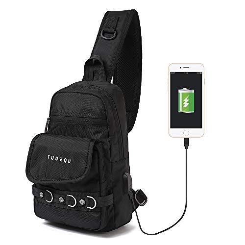 TUDEQU Small Sling Chest Crossbody Single Shoulder Backpacks Bags Daypacks with USB Charging Port for Men Women Teen Outdoor Traveling Hiking