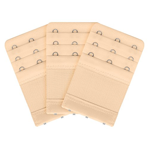 Bra Extender 3 Hook 3pcs-Pack, Soft Bra Strap Extension Beige
