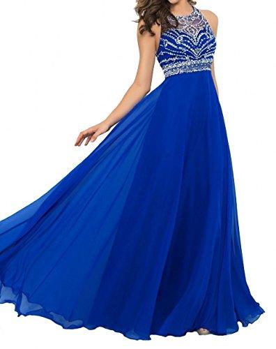 La Blau Chiffon Schwarz Festlichkleider Steine Rock Dunkel Damen Braut Abendkleider mia Chiffon Royal Partykleider Promkleider r6wFqr