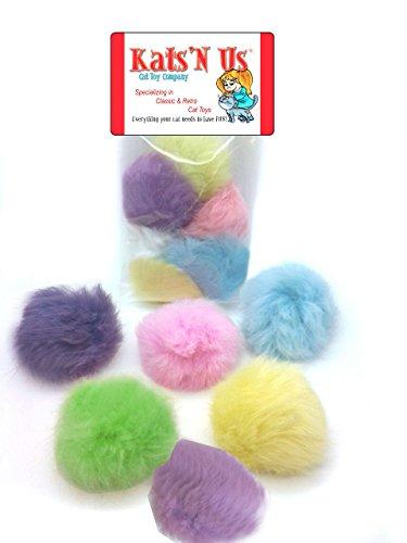 Kats'N Us Real Rabbit Fur Pom Pom Ball Cat Toy - Colorful Flying Fuzz Balls 5 Pk ()