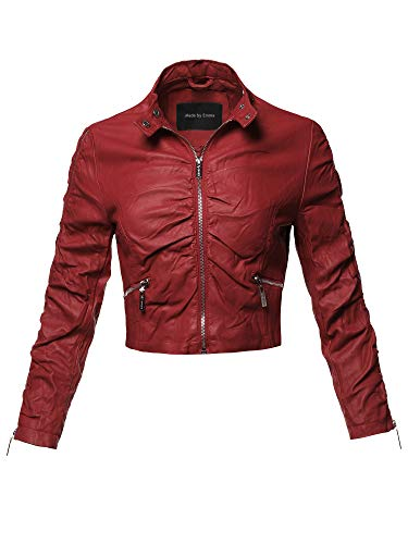Casual Junior Fit Stylish Trendy Bomber Cropped Leather Motorcycle Jacket M ()
