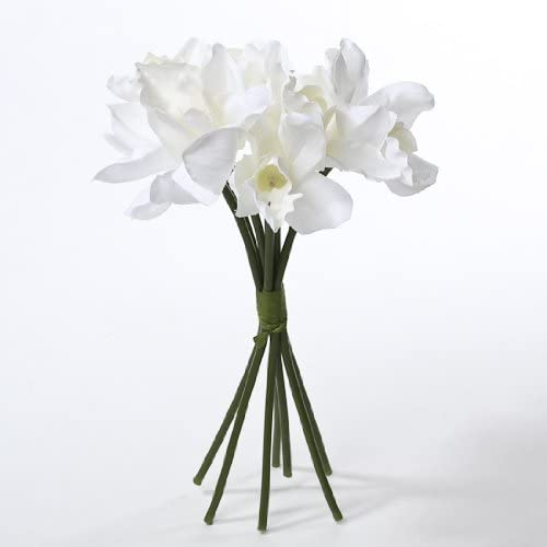 Classic White Artificial Silk White Orchids With Raffia Wrapped Stems 2 Bouquets Of 7 Stems Home Kitchen Amazon Com