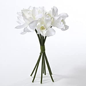 Classic White Artificial Silk White Orchids with Raffia Wrapped Stems - 2 Bouquets of 7 Stems 87