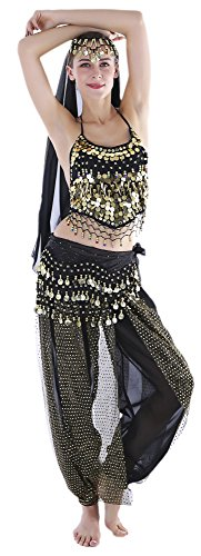 Seawhisper Ladies Black Belly Dancer Costume Genie Outfits for Halloween - Dancer Halloween Costumes