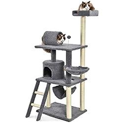 AmazonBasics Cat Condo Tree Tower With Hammock And Tunnel - 26 x 62 x 19 Inches, Grey