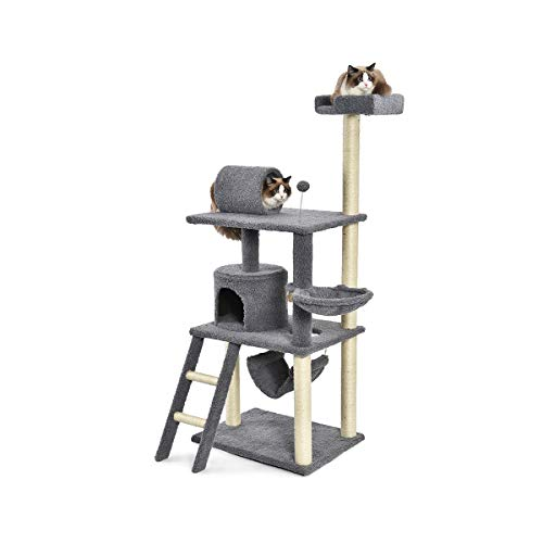 Gray Cat Tunnel - AmazonBasics Cat Condo Tree Tower With Hammock And Tunnel - 26 x 62 x 19 Inches, Grey