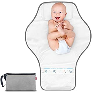 MORROLS Portable Changing Pad - Baby Diapering Travel Station for Infants & Newborns - Waterproof Changing Mats Portable with Head Cushion - Grey Fully Padded(26X19.7in)