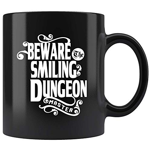 Beware The Smiling Dungeon Master Mug - Funny DND D&D DM Dice D20 Coffee Cup