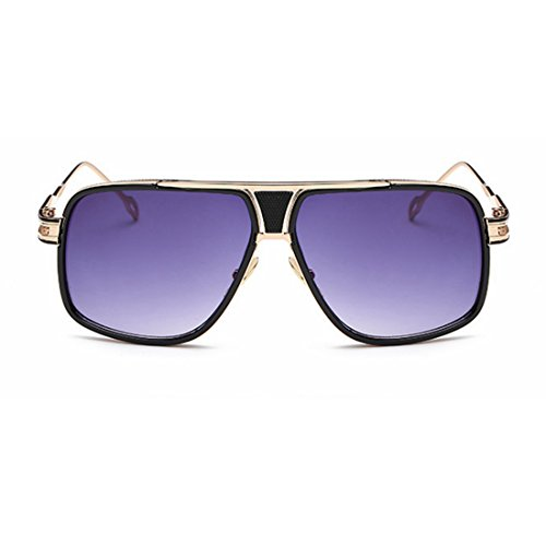 Miroir Vintage TLMY Métal de Couleur Soleil Couple Big Lunettes Box Bleu 蛤蟆 Rond Visage Dame Mode De en Soleil Purple Deep Lunettes 55taxqwzr