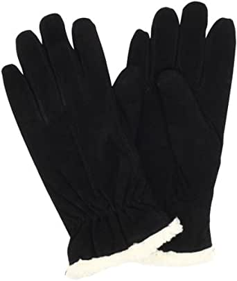 Isotoner Women's Wrist Sherpa Soft Leather Glove, Black, Large