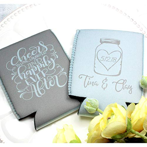 Personalized Wedding Can Coolers Cheers Happily Multiple Colors/Quantities