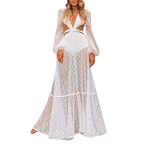 Witspace Women Summer Sexy Long Sleeve Deep V Neck Beach Dress Evening Party Dress