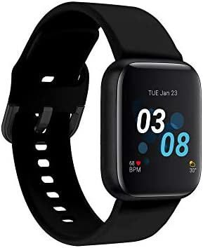 iTouch Air 3 Smartwatch for Fitness, iPhone and Android Compatible, Pedometer, Walking and Running Tracker for Women and Men (Black/Black)