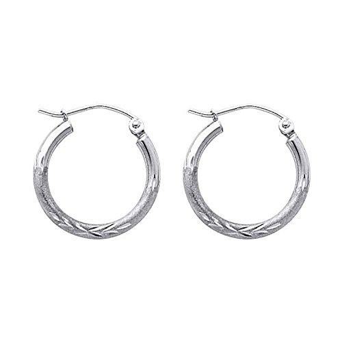 (Women's 14k White Gold 2mm Wide Diamond Cut Classic Hoop Earrings (.70